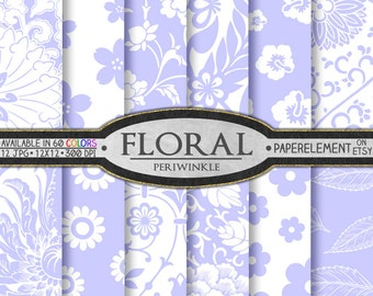 Periwinkle Purple Floral Digital Scrapbook Paper - Printable Flower Patterns - Instant Download