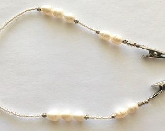 NLH020 White PotatoFreshwater Pearls Napkin Lanyard Short