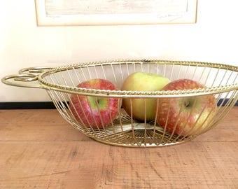 Vintage Gold Wire Oval Basket, Fruit Basket, Catchall, Scroll Handles