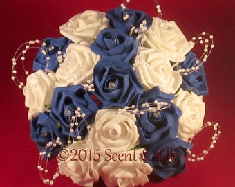 Wedding Bouquets, Brides, Bridesmaids, Royal Blue and Ivory or Royal Blue and White