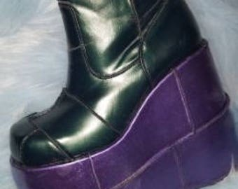 Mermaid purple and green ankle demonia boot/ rave boot/ festival boots/ gogo boots