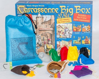 "Carcassonne Felt Big Box Pouches 10 pc Bundle - (1) XLarge 9"" x 12"" Tile Draw Bag, (8) Small 3"" x 3"" Player Pouches and (1) 4"" x 6"""