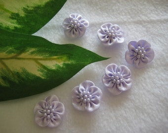 Lavender Satin Flower Appliques 7 Pearls Center for Party Dresses, Doll Clothes, Baby Shoes, Sewing, Crafting, 3/4 inch (20 mm), 18 pieces