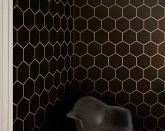 Hexagon Tile Allover Geometric Wall Stencil