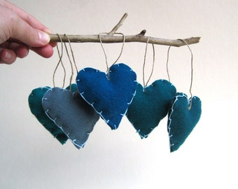 upcycled heart felts ornaments set of 5 in blues / handmade ocean sea inspired (LAST ONE)
