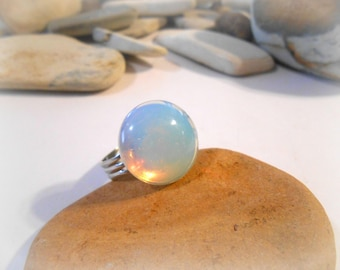 Opalite Ring | Moonstone Ring | Stone Ring | Adjustable Ring | Chunky Rings | Moonstone Jewelry | Statement Rings for Women | Womens Rings