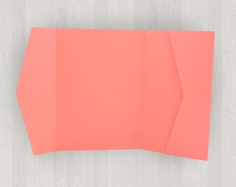 10 Horizontal Pocket Enclosures - Coral & Peach - DIY Invitations - Invitation Enclosures for Weddings and Other Events