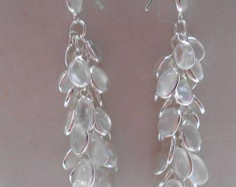 Sterling Silver Hall Mark Sri Lankan Moonstone Bunch Long Earrings (E23/7)(NEW)