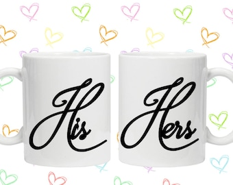 his and hers script couples mug set Valentine's Day gift idea