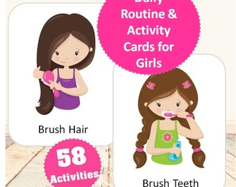 Daily Routine & Activity Cards for Girls-Brunette