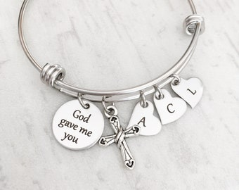 "Initial Charm Bracelet for Mom - Mother's Day Jewelry Gift for Her from Kids - Personalized Silver Toned ""God gave me you"""