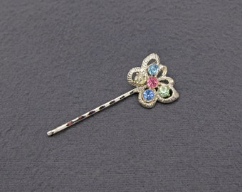 60's vintage bobby pin, gold tone butterfly hair pin w/ multicolor pastel crystal rhinestones