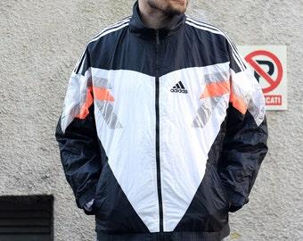 Vintage Adidas Equipment track top / EQT zip front jacket / Nylon sports oldschool windbreaker / Black white grey orange tracksuit / 90s L
