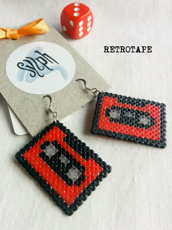 Red 8bit geeky Retrotape cassette earrings made of Hama Mini Beads perfect gift for pixel-perfect music lovers