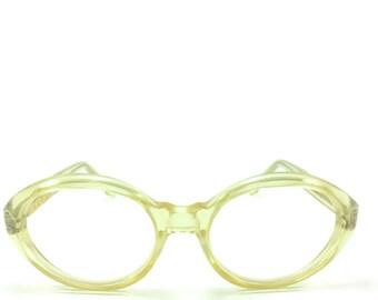Vintage 1960s Petite Clear Round Oval Mod Eyeglass Frame - Mara