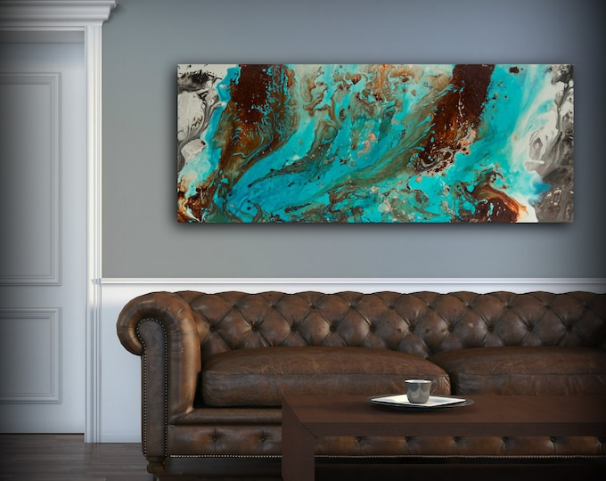 Aqua Print Blue and Brown Wall Art Decor Colourful Bohemian Art Modern & Coastal Prints - L Dawning Scott Fine Art
