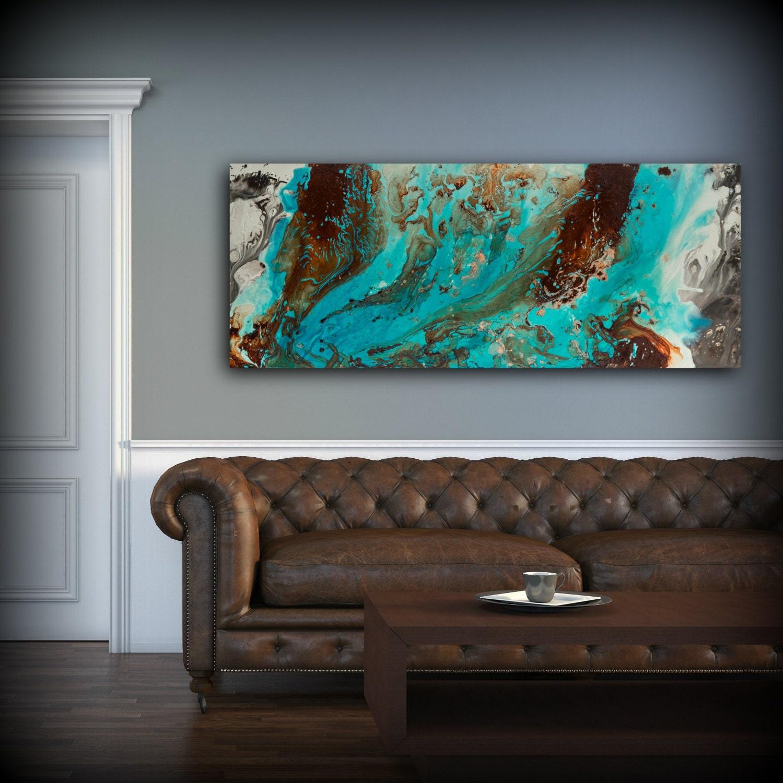 Teal Wall Art Aqua Print Blue And Brown Wall Art Decor Colourful Bohemian