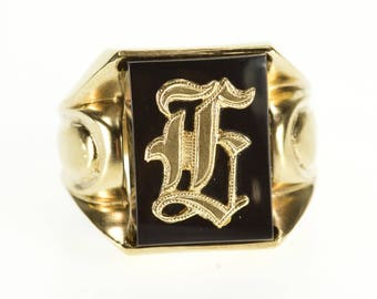 10k H E L G Old English Letter Intial Black Onyx Ring Gold