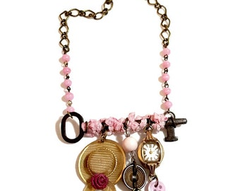 Upcycled Jewelry, Reclaimed Repurposed Antique Key Necklace, Charm  Statement Necklace,  Pink Charm Necklace, Vintage Jewelry