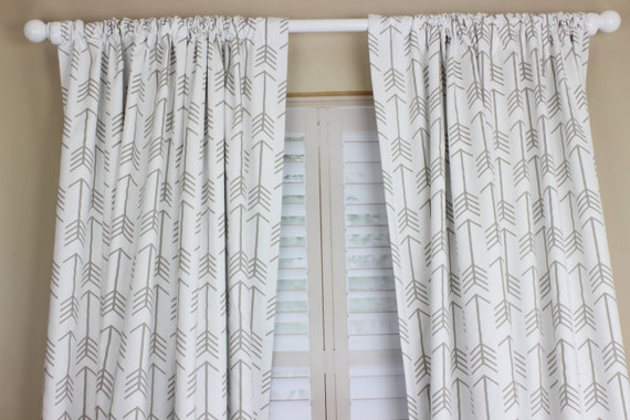 White With Tan Arrow Curtain Panel Set Arrow Nursery Curtains