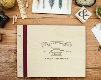 Custom Wedding WOOD Guest Book - Vacation Home