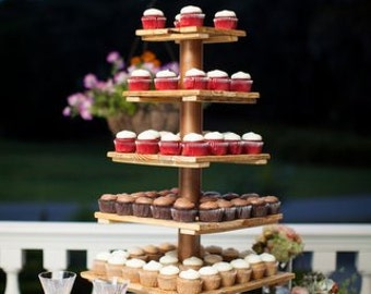 Country Wedding Cupcake Stand wood cake stand barn wedding cupcake tower rustic wedding unique party reclaimed wood