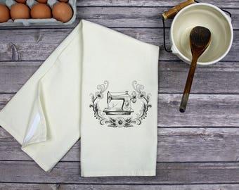 Kitchen Dish Towel - Tea Towel -  Hand Towel - Dish Towel - Kitchen Towel - Vintage Sewing Machine