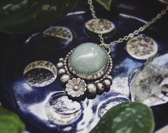 Sterling Silver Aquamarine Pendant, Navajo Pearl and Flower Aquamarine Pendant, Handmade Silver Gemstone Pendant,  Aqua Pendant with Chain
