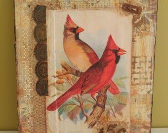 Red Bird 456.  10x12 mixed media collage art
