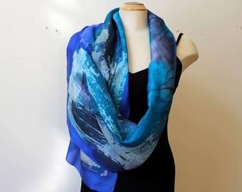 "Batik silk scarf 15"" x 70"""