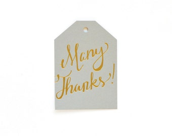 Many Thanks - set of 6 letterpress tags
