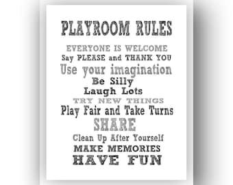 11x14 Playroom Rules Sign.  Digital download art print 11x14