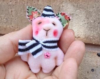 Handmade Mini Teddy Bear Piggy Animal Kawaii Softie Plush by Woollybuttbears - perfect pet for Blythe doll
