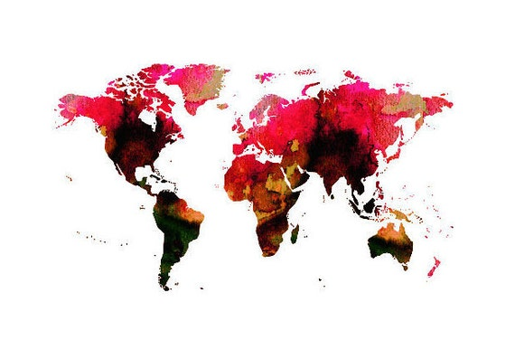 World map printable poster wall art print red watercolour gumiabroncs Choice Image