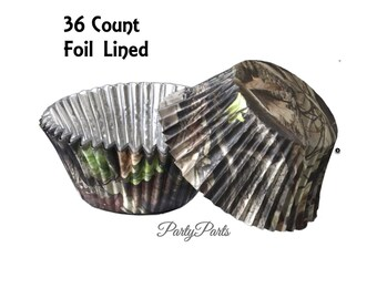 camo cupcake liners, 36CT, camouflage party decorations, hunting baby shower, lumberjack, baking, outdoors, woodland, forest, boys birthday