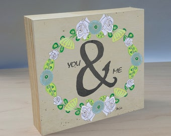 You and Me art print panel. You and Me print for couples. Gift for wedding shower. Wedding decor. Gift for engagement. Gift for anniversary.