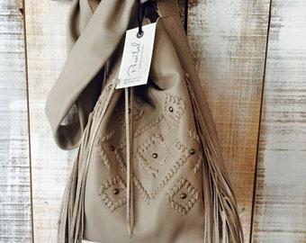 Gray beige leather bag, leather crossbody purse, fringes boho bag, soft leather bag