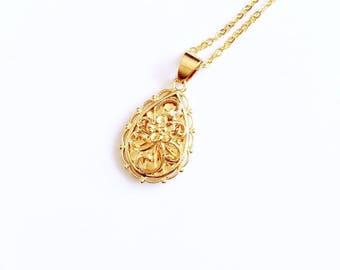 90s Y2k 00s Floral droplet pendant necklace