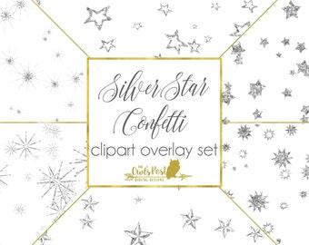Silver Glitter Star Confetti | Digital Star Clipart | Stars Clipart | Stars Confetti | Glitter Stars Clipart | Stars Clipart | Set of 6 PNGs