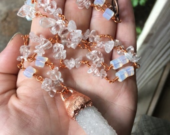 Crystal Danburite Necklace with Opalite and Clear Quartz
