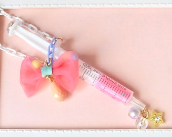 Unique pink syringe necklace,Kawaii necklace, Fairy Kei Jewelry, Sweet Lolita Jewelry,Japanese Kawaii Jewelry,Yume kawaii