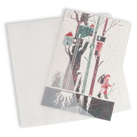 TREKKING SANTA. Winter holiday card. Walking Santa. Snowy forest. For wood walkers. Real estate agent customer gift