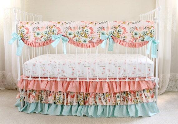 Blush Pink Floral Crib Bedding Set Pink Coral And Aqua Baby