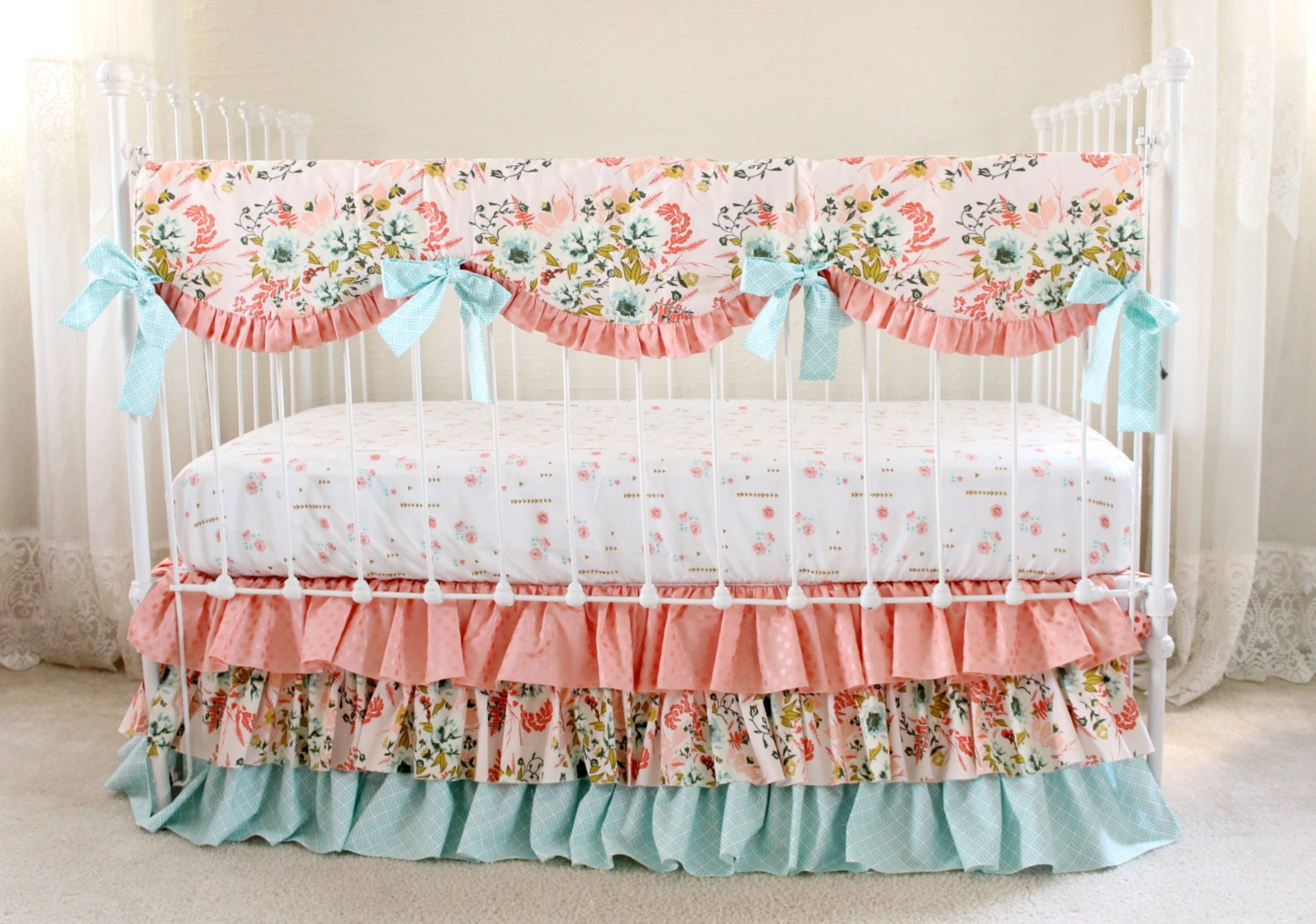 Blush Pink Floral Crib Bedding Set Pink Coral and Aqua Baby