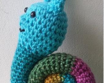 crocheted Snail Keychain