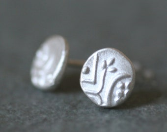 Mismatched Byzantine Stud Earrings in Sterling Silver