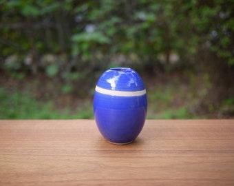 Ceramic Bud Vase / Bright Blue & Bare Clay