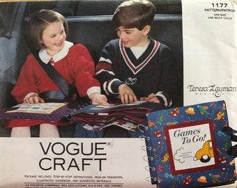 VOGUE Sew Patt 1177~GAMES to Go cloth travel book~iron-on transfers+how-to~UNCU