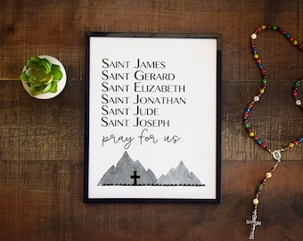 Catholic Saints Poster, Modern Boys Room Decor, Personalized Confirmation Name Baptism Sacrament Gift, Teen Room, College Dorm, Prayer Print