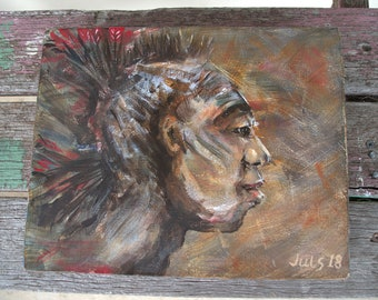 Original Acrylic Painting on Canvas, Entitled 'Peace Warrior' by Juls